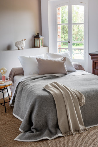 Couverture laine vierge double face sans teinture - 500g/m²
