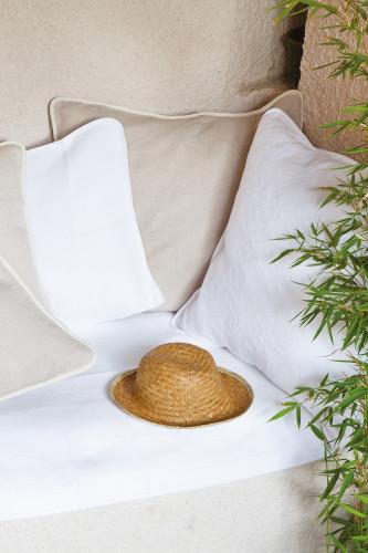 Housse d'oreiller carrée en piqué de coton motif jacquard