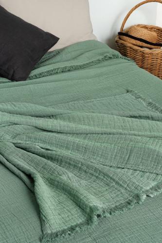 Dessus de lit en gaze de coton - stonewashed