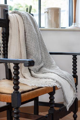Plaid réversible en gaze de laine et coton motif pointillés